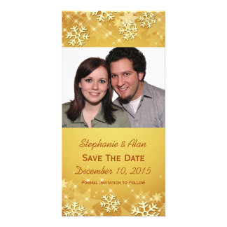Golden Snowflakes Save The Date Photo Cards