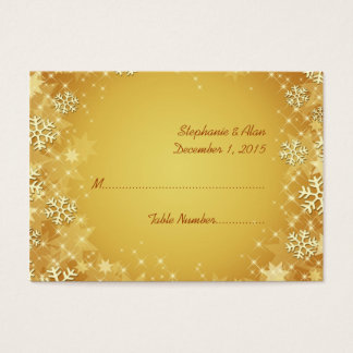 Golden Snowflakes Wedding Place Cards