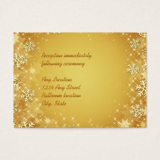 Golden Snowflakes Wedding Reception Card