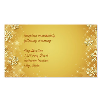 Golden Snowflakes Wedding Reception Card Double-Sided Standard Business Cards (Pack Of 100)