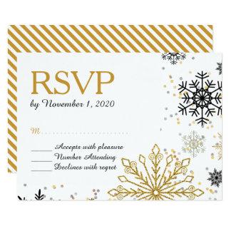 Golden Snowflakes Winter Wedding RSVP Card