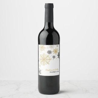 Golden Snowflakes Winter Wedding Wine Label