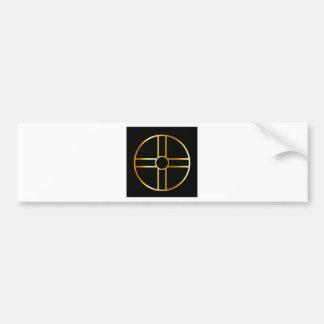 Golden southern cult solar cross symbol bumper sticker