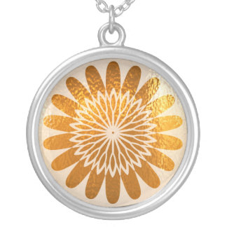 Golden Sparkle Wheel of Fortune Round Pendant Necklace