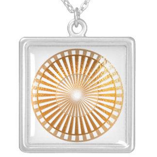 Golden Sparkle Wheel of Fortune Square Pendant Necklace