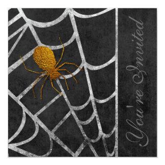 Golden Spider Halloween Costume Party Invitation