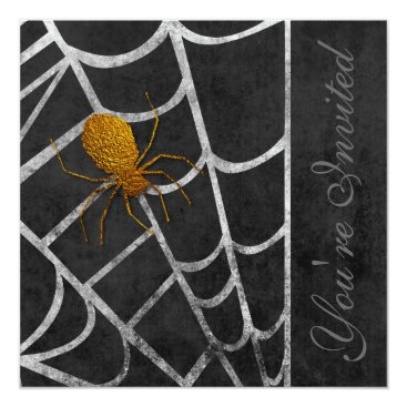 Halloween Themed Golden Spider Halloween Costume Party Invitation