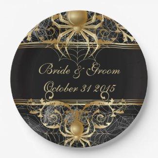 Golden Spider Halloween or Wedding Party Plates