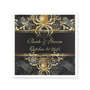 Halloween Themed Golden Spider Paper Party Napkins