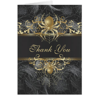 Golden Spider Thank You Wedding  Card