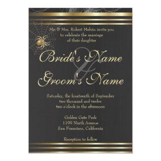 Golden Spiders Please Join US Wedding Invitation