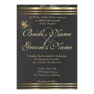 Halloween Themed Golden Spiders Please Join US Wedding Invitation