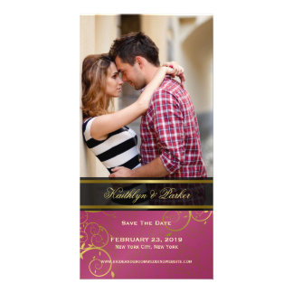 Golden Spiral Vines Classy Photo Save The Date Photo Greeting Card