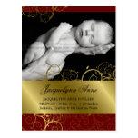 Golden Spirals Vines Photo Birth Announcement Post Cards