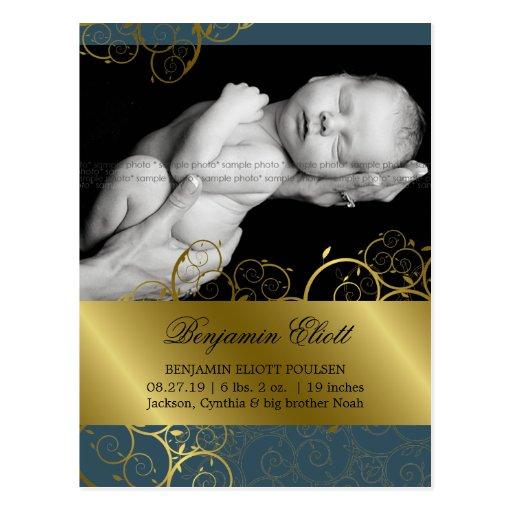 Golden Spirals Vines Photo Birth Announcement Post Card