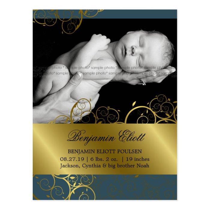 Golden Spirals Vines Photo Birth Announcement Postcard