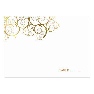 Golden Spirals Wedding Guest Seating Place Card Large Business Card