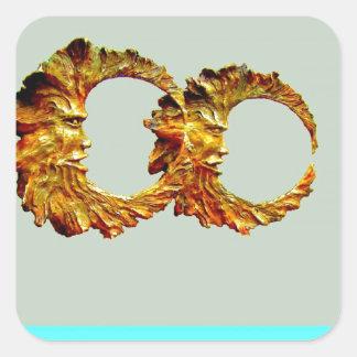 Golden Spirt Moons by Sharles Square Sticker