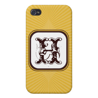 Golden Spring Rays Monogram  Covers For iPhone 4
