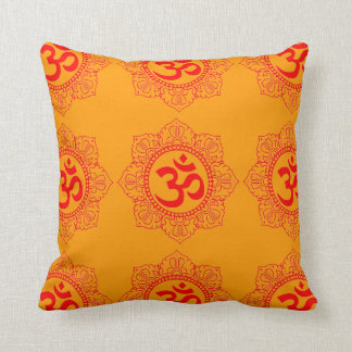 GOLDEN SQUARE PILLOW WITH RED CHAKRA PRINT