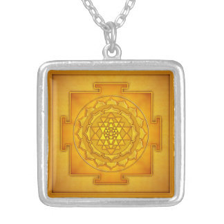 Golden Sri Yantra II Silver Plated Necklace