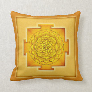 Golden Sri Yantra III Throw Pillow