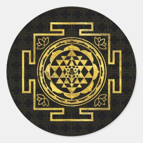 Golden Sri Yantra   Sri Chakra Classic Round Sticker