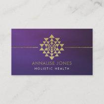 Golden Sri Yantra  / Sri Chakra on purple Business Card
