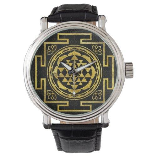 Golden Sri Yantra   Sri Chakra Wrist Watch