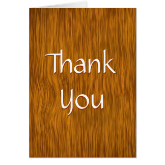 Golden Stained Rough Wood Thank You Card