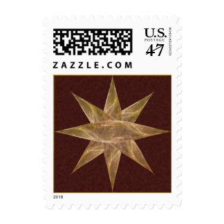 Golden Star Abstract Art Postage