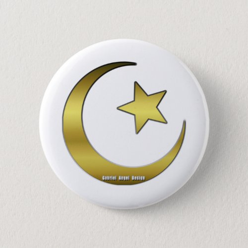 Golden Star and Crescent Button
