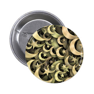 Golden Star and Crescent 2 Inch Round Button
