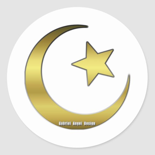 Golden Star and Crescent Classic Round Sticker