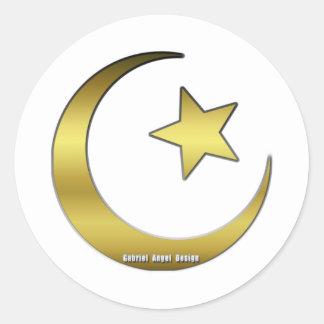 Golden Star and Crescent Classic Round Sticker