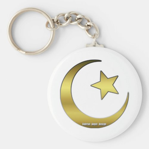 Golden Star and Crescent Keychain