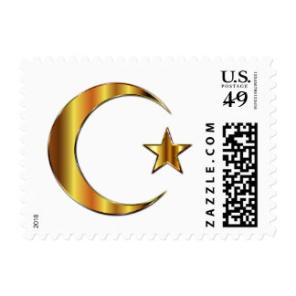 Golden Star and Crescent Moon Islam Stamp