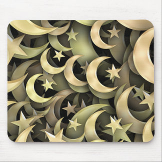 Golden Star and Crescent Mouse Pad
