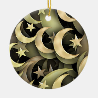 Golden Star and Crescent Double-Sided Ceramic Round Christmas Ornament