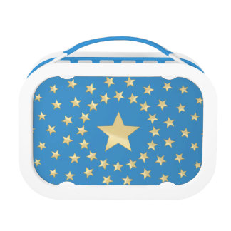 Golden Star encircled by smaller stars blue Lunch Box