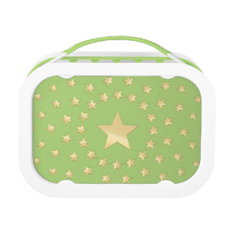 Golden Star encircled by smaller stars green Lunch Box