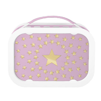 Golden Star encircled by smaller stars pink Lunch Box