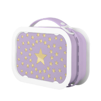 Golden Star encircled by smaller stars purple Lunch Box