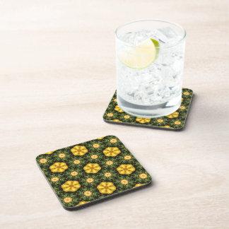 Golden Star Flower Beverage Coasters