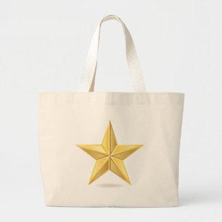 Golden star large tote bag