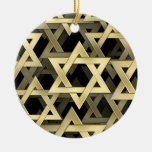 Golden Star Of David Double-Sided Ceramic Round Christmas Ornament