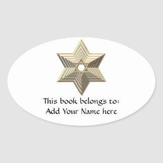 Golden Star of David Oval Sticker