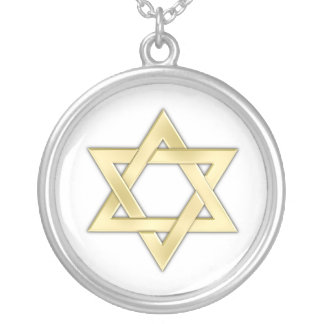 Golden Star Of David Silver Plated Necklace