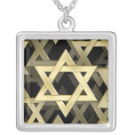 Golden Star Of David Square Pendant Necklace