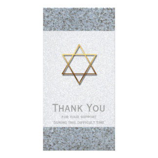 Golden Star of David Stone 1 Sympathy Thank You Card